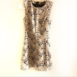 H&M Black White Lace Floral Flared Dress